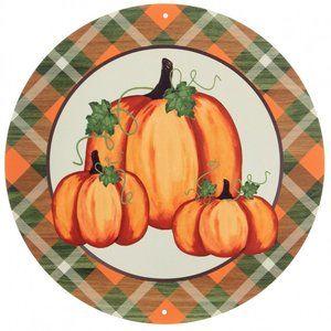 "2"" Metal Sign: Pumpkins With Moss Printed Plaid"